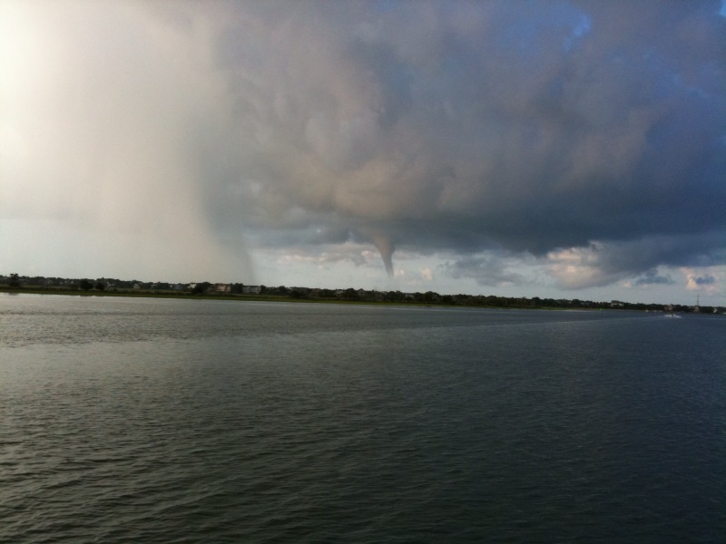 Notice the waterspout in the center of the photo.  The waterspout was over the IOP or its front beach.