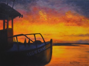 Esther's painting of the Aggie Gray in the sunset