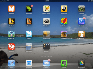 ipad screen with apps