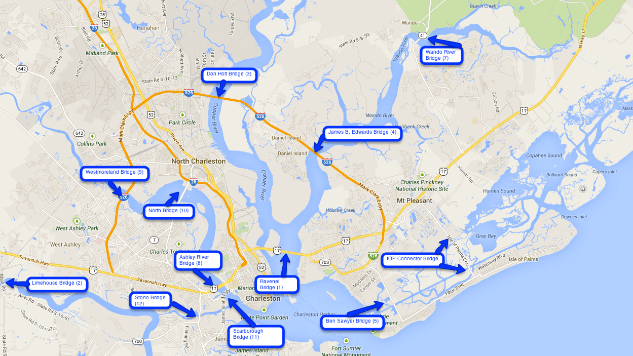 A map of the bridges in Charleston.  Google Maps.