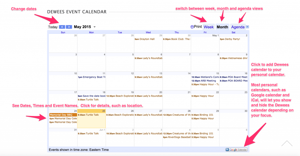 How to use the Dewees Island website calendar.