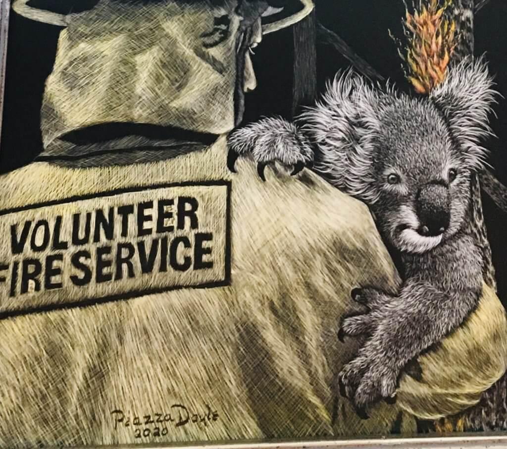 Australian Wildfire Scratch Art by Esther Piazza Doyle